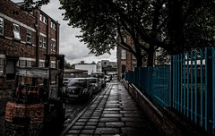 Summer in the city (Peter Leigh50) Tags: leicester street factory fork lift truck fence pavement trees city cityscape wet rail dark canon 6d eos