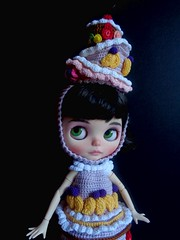 Candy getting ready for the Royal Ascot (Blythe's Tiny Worlds) Tags: custom doll crochet hat dress amigurumi blythe cake sweets strawberry cherry kiwi clothes helmet headband
