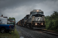 Doom and Gloom (marko138) Tags: 056 bluemountainoutfitters c408w cr6160 dash8 ge marysville ns8379 norfolksouthern pittsburghline badweather blur exconrail gloom highandwide locomotive middledivision pennsylvania railfan railroad railroadphotography rain slowshutter summer train zoompan