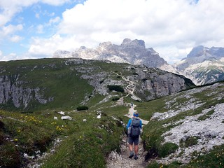 Approaching Forca dei Castrade on Monte Piana