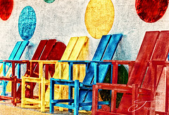 Polka Chairs (The Shutter Affair) Tags: color polkadots polka dots blue yellow red adirondack texture chairs adirondackchairs chair cottage wall art