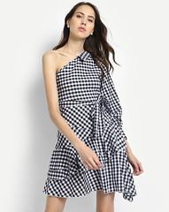 checkered-britzy-ruffled-one-shoulder-dress (neha.thakur35) Tags: dressesforgirls ladiesdresses dressesforwomen