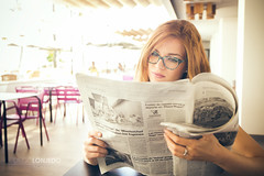 News (lexias) Tags: lonjedo portrait photoshoot newspaper news redhead sweet inside coffee coffeeshop cafeteria reading read pink ikea