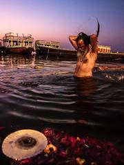 Holy Bath - Varanasi, India (Kartik Kumar S) Tags: varanasi uttarpradesh india ganga canon 600d tokina 1116mm morning sunrise shivratri people places street photograpy saint walk steps lines prayers travel