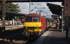 90036 Wakefield Westgate 09/07/2017 (Flash_3939) Tags: 90036 driverjackmills bn13 82213 class90 electric locomotive db cargo virgin virgintrains wakefieldwestgate wkf station 1d22 fone rail railway train uk july 2017