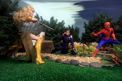 Paprihaven 1094 (MayorPaprika) Tags: mattel queenhippolyta horse wonderwoman spiderman park paprihaven turtlecrossing worldpeacekeepers madetomove barbie lea policeofficer captainaction playing mantis 16 custom diorama toy story actionfigure 2017 lgv20