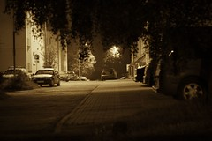 Nearbystreet (navarrodave80) Tags: street neighbourhood cars blocks night monochrome