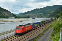 Crossrail 185 595, Assmannshausen (Sander Brands) Tags: trein train treni treno trenuri züg züge crossrail cargo 185 rhein rheintal kbs zug klv italien