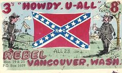 The Viking: Rebel - Vancouver, Washington (73sand88s by Cardboard America) Tags: qsl qslcard vintage cbradio cb theviking washington confederate