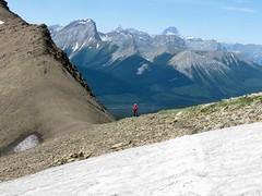 Mount Chester Summit Scramble - Larry patiently waits for Ben... (benlarhome) Tags: kananaskis alberta canada chesterlake mountchester scramble scrambling hike hiking trek trekking mtchester rockymountain mountain rockies