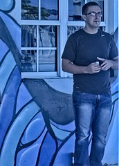Smoking man:  Blue version (LarryJay99 ) Tags: men male man guy guys dude dudes lakeworth florida jeand jeans blue bluejeans smoking face glasses windows hairy arms hairyarms