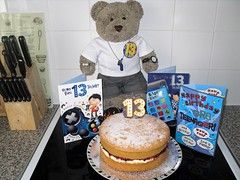 It's offishul, I'm a teenager! (pefkosmad) Tags: tedricstudmuffin teddy bear ted birthday 13 thirteen thirteenthbirthday cake victoriasandwich victoriasponge birthdaycake number candle cards birthdaycards greetingscards teenage teenager age celebration