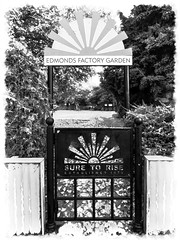 Edmonds Factory Garden (Steve Taylor (Photography)) Tags: suretorise edmondsfactorygarden art architecture design sign fence gate monochrome blackandwhite monotone metal newzealand nz southisland canterbury christchurch bush tree trees edmondsfactorygardens 1879 established1879 ferryroad