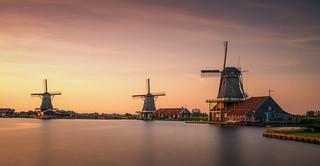 Zaanse Schans - three Dutch windmills