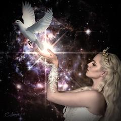 ThePrincessOfPeace (clabudak) Tags: princess peace dove space magic hands glow star universe