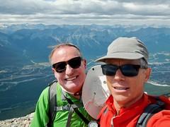 Grotto Mountain Summit Scramble loop - Summit selfie (benlarhome) Tags: canmore alberta canada grottomountain hike hiking scramble scrambling trek trekking mountain rockies rockymountain trail path