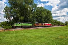 The Thackery Trio (Wheelnrail) Tags: io iory oc ohio central emd sd402 locomotive rail road train trains bridge washington court house b turn local freight springfield quincy