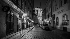 Streets of Prague (McQuaide Photography) Tags: prague praag praha czechrepublic českárepublika czechia centraleurope europe sony a7rii ilce7rm2 alpha mirrorless 1635mm sonyzeiss zeiss variotessar fullframe mcquaidephotography adobe photoshop lightroom manfrotto tripod outdoor outside building city capitalcity night nightphotography longexposure illuminated street architecture cobblestone old oldstreet streetlight character atmosphere nightlife staréměsto oldtown prague1 169 widescreen husova blackandwhite bw mono monochrome wideangle