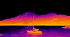 Boat on Lake Como - thermal image (Ultrapurple) Tags: thermal thermalimager thermalimage thermalcamera thermographic thermapp lwir boat como lake mountain water thermography gravedona heat android experiment experimental hot invisible microbolometer infrared thermogram thermograph warm warmth science scientific temperature weird weirdscience cool cold nightvision greyscale uncooled imager 8bit