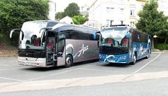 MY17AZZ & MR17AZZ, Torquay Coach Station, 25/07/17 (aecregent) Tags: torquaycoachstation 250717 aziz azizcoachservice mercedes tourismo my17azz volvo b8r plaxton mr17azz
