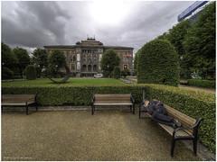 Kode 1 / Art Gallery (Luc V. de Zeeuw) Tags: art bench building clouds homeless kode1 lucvdezeeuw museum park sculpture tree bergen hordaland norway