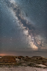 The Milky Way at Red Rock Coulee (Amazing Sky Photography) Tags: milkyway summer redrockcouleenaturalarea alberta nightscape july rocks concretions badlands tracker staradventurermini sam composite sagittarius darkhorse saturn altair aquila darklanes starclouds darksky scutum ophiuchus canada