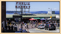 Historic Pike Place Market (Sugardxn) Tags: garypentin sugardxn photoshop picswithframes seattle canon canon7d canoneos7d frame washington pikeplace fishmarket hustle bustle shopping fish seafood busy people