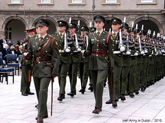 Irish Army Soldiers On Parade in Dublin .. 2016. (mrvisk) Tags: old irish history uniforms rifles bayonet guns boots peaked hats medals white gloves march co leather cross belts swords lanyards jilty proud pride sgt major military drill volunteers defence forces badges crests sam browne groupshot pic killaloe duty respect easter uprising memorial ceremony tourist attraction fit young men professional mrvisk 2010s people outdoor
