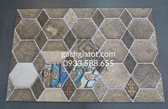 Gạch ốp tường hexagon brown (30x60)