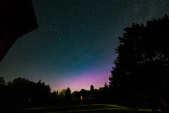 Northern Lights Glimpse (matthewkaz) Tags: auroraborealis northernlights lights colors sky night stars astronomy bigdipper silhouette trees barn westbranch ogemawcounty home michigan summer 2017 longexposure astrophotography
