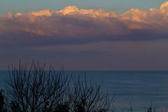 Light on Cloud Tops (brucetopher) Tags: light sunlight sunset cloud emotion cloudscape sky skies water sea ocean coast beach fromabove over view scenery scene landscape seascape quiet darkening darkness twilight