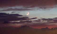 Crescent Moon at Sunset (Chuck - PhotosbyMCH) Tags: photosbymch sunset moon clouds backbaynationalwildliferefuge virginiabeach virginia usa canon 5dmkiv 2017 colors summer outdoors crescentmoon