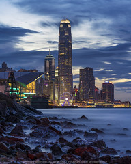 Casuseway Bay, Hong Kong (mikemikecat) Tags: international finance centre hong kong ifchk 香港國際金融中心 central district mikemikecat scenery cityscapes 香港 天際線 twilight nightscape nightview night 夜景 城市 天空 bluehour victoriaharbour casusewaybay 銅鑼灣 sea sony a7r waterscape water rock