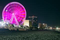 Myrtle Beach Pink Wheel (matthewkaz) Tags: skywheel ferriswheel ocean atlanticocean wheel lights beach pier pier14 longexposure night buildings myrtlebeach sc southcarolina 2017 sand pink