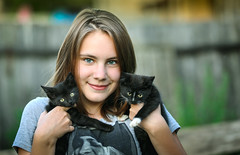 Happy (svklimkin) Tags: girl cat kitten animal love happiness smile face cute pet
