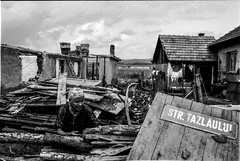 Romania : Woman in her house in a village devastated by a flood due to the break of a dam. (rvjak) Tags: roumanie romania inondation flood black white noir blanc nikon f3 old woman vieille femme film argentique pellicule