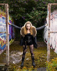 Samantha (Waving lights in the dark) Tags: arms fur fake fakefur frame urbex rust rusty apocalypse apocalyptic ripped rip tights ladders photoshoot boots legs model beauty sonyzeiss sheffield sheff abandoned