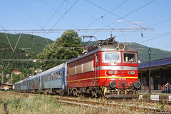 45 193 (Rivo 23) Tags: bdz bdž bulgarian state railways electric locomotive skoda 68e class 45 193 fast train 7625 passenger svoge railway station iskar gorge бдж пътнически влак гара своге електрически локомотив шкода серия