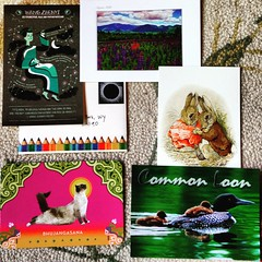 Outgoing postcards, June 2017 (Missive Maven) Tags: postcard sent outgoing snailmail postcrossing letter letterwriting loon rabbit cat mountains showandmail