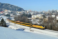 193 206-0, RJ 1003, Mosty u Jablunkova, 4.12.2016 (Patrik Buzinis) Tags: košice praha regiojet rj slovakia snow winter mosty u jablunkov státní hranice vectron siemens trains railroads vehicle european locomotive leasing jablunkova 2016