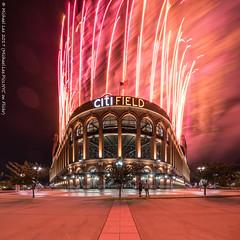 Citi Field Fireworks (20170715-DSC07176-Edit) (Michael.Lee.Pics.NYC) Tags: newyork citifield mlb majorleaguebaseball mets architecture night fireworks longexposure lighttrail smoke symmetry square sony a7rm2 voigtlanderheliar10mmf56