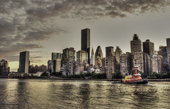 NYC in HDR (Carol Montgomery8345) Tags: newyork unitedstates us nyc eastriver tug skyline cityscape