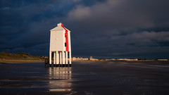 Waiting (littlenorty) Tags: beach bristol buildings channel colour landscape lighthouse lowlighthouse material red reflection season storm summer type weather wind wood moody