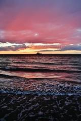Wallaroo sunset 2 (sonofwalrus) Tags: canon eos7d slr wallaroo sa southaustralia australia dusk sunset clouds water sea ocean boat waves pink orange