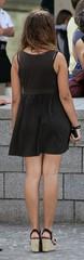 427 (SadCire) Tags: woman female femme frau mujer girl teen thigh calves legs miniskirt minidress dress skirt street candid sexy heels wedges