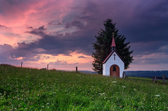 Crazy sky (Simon_Bauer) Tags: church chapel sky clouds wolken sunset sonnenuntergang colors mood dramatic himmel farben bavaria germany oberbayern deutschland oberammergau saulgrub fatima upper ammergauer alpen alps