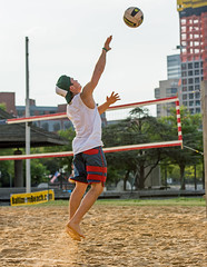 2017-07-17 BBV Men's Doubles (4) (cmfgu) Tags: craigfildespixelscom craigfildesfineartamericacom baltimore beach volleyball bbv md maryland innerharbor rashfield sand sports court net ball outdoor league athlete athletics sweat tan game match people play player doubles twos 2s men