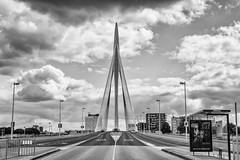 Prins Clausbrug Utrecht (SkyBlue Photography Pro) Tags: utrecht nederland transport brug bridge van berkel erasmus netherlands architecture blackandwhite sky bw bandw clouds dutch canon eos m5