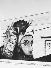 Wall art (santoscinderella) Tags: artist skills skilled details beautiful woman pretty apple iphone photography shot florida adventures walk streets district wynwood miami geek grey blackandwhite wall sketch design art