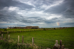 Northumbrian Farm And Sun Dog Out To Sea (Geraldine Curtis) Tags: northumbrianfarm beach road path lane sea sundog farm northumberland